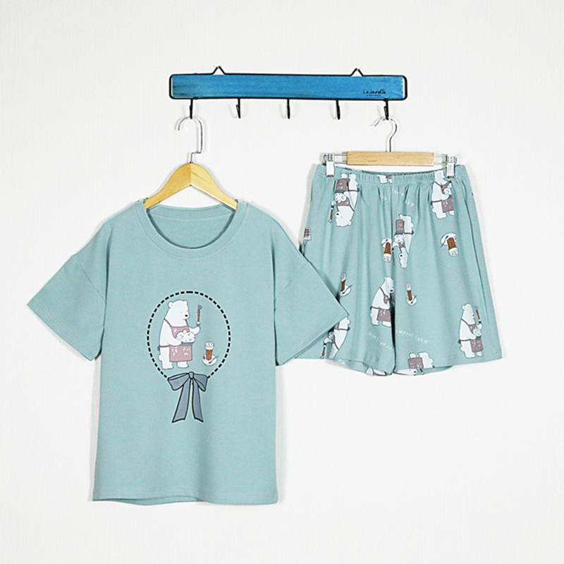 Woman Short-Sleeved   Pajamas     Set   Female Shorts Cartoon Print Sleepwear   Set