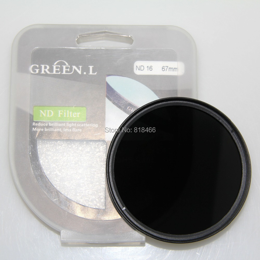ingyenes szállítás GREEN L 77mm ND16 ND szűrő Semleges sűrűség ND 16 lencse szűrő 77 mm-es üveg anyaghoz canon nikonhoz