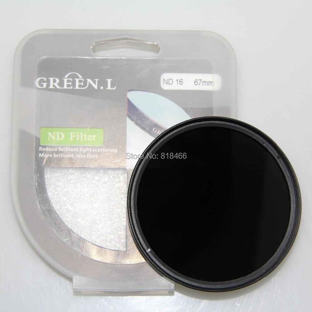 Envío libre VERDE L 77 mm ND16 ND filtro de densidad neutra ND 16 Filtro de lente para 77 mm Material de vidrio para canon nikon