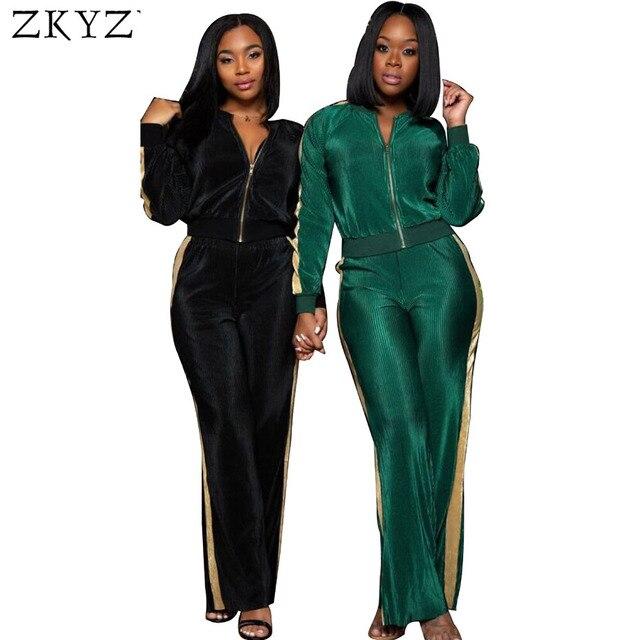 ZKYZWX Velour Tracksuit Women Matching Sets Velvet Two Piece Set Tops and  Pants Suits Casual Autumn 665b1d94dea9