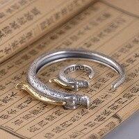 S990 sterling silver vintage craft ethnic style Hongshan culturenatural stone pig dragon bracelet ring