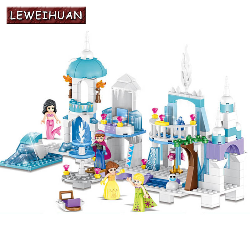 4 in 1 Princess Mermaid Elsa Anna Ice Castle Building Blocks Sets Kids toys Compatible With Legoe for girl Christmas gifts jg303 building blocks arendelle castle princess anna elsa buildable snow queen figures sy371 with blocks kids toys gift page 8