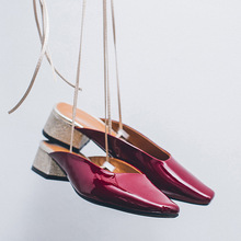 Women Burgundy Square Toe Gold Ankle Strap Mules Shoes Low Heels Slide 2017 Genuine Leather Slipper Strappy Retro Slingback Shoe