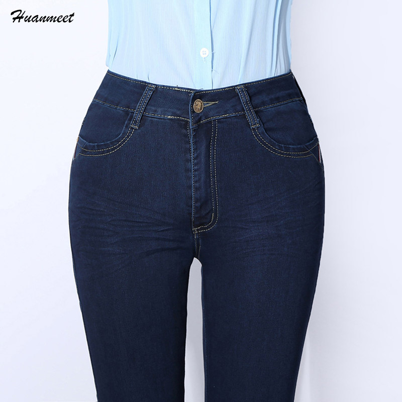 Huanmeet Brand Skinny Jeans Woman High Waist Womens Stretch Jeans Plus Size 27-38 Elastic Denim Pants Female Flared Jeans Femme womens stretch plus size ripped black jeans femme large big size skinny distressed jeans woman summer thin pants 4xl 5xl 6xl 7xl