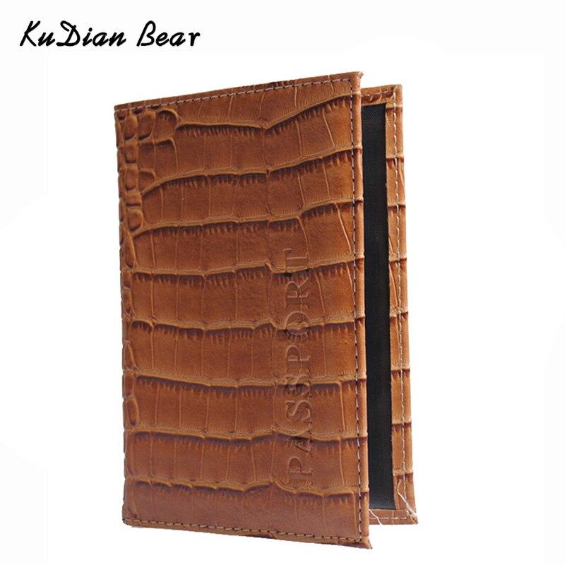 KUDIAN BEAR Crocodile Women Passport Cover PU Leather Cover Of The Passport Holder Travel Cover Case Porte Carte BIY023 PM49