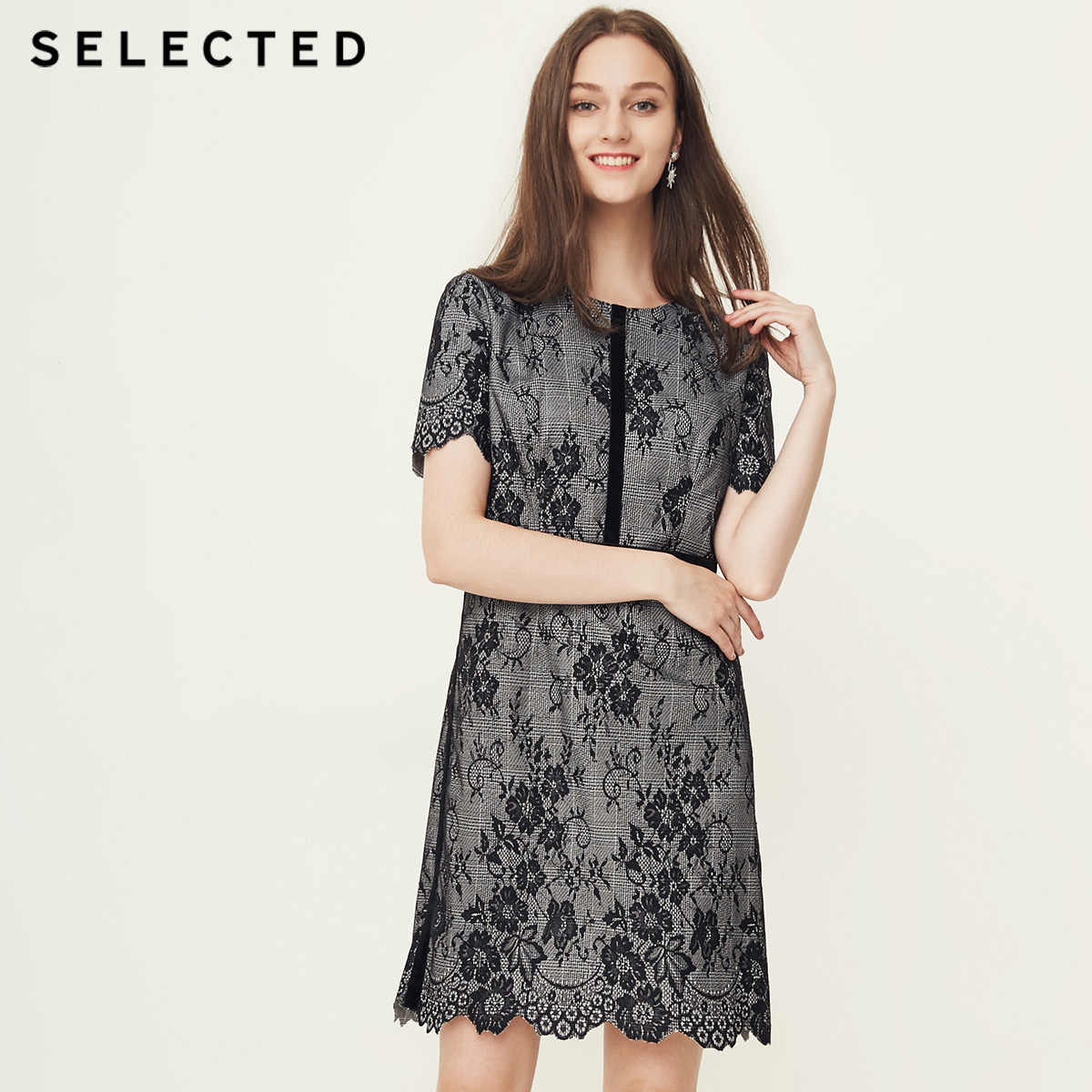 Отборное бархатное кружевное клетчатое платье S | 41832J502