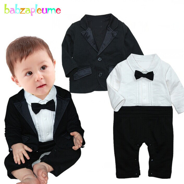 d85317ee57 2PCS/0-24Months/Spring Autumn Newborn 1st Birthday Baby Boys Clothes Black  Jacket+Gentleman Jumpsuit Infant Clothing Sets BC1278