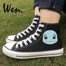 Wen Women Men's Canvas Sneakers High Top Design Anime Pokemon Squirtle Skateboarding Shoes Black White Lace up Sport Plimsolls