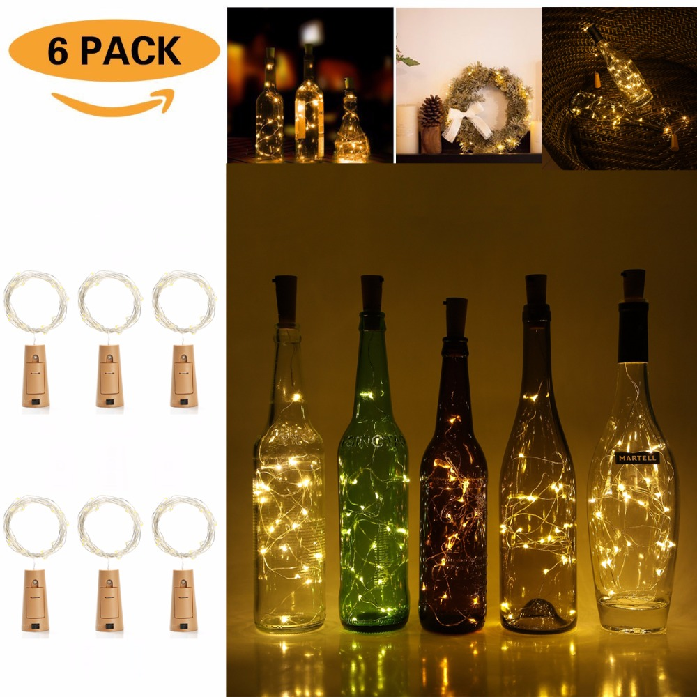 Wine Bottle Cork Lights 6 Packs 2m/7.2ft Copper Wire String Lights 20 LEDs for DIY, Part ...