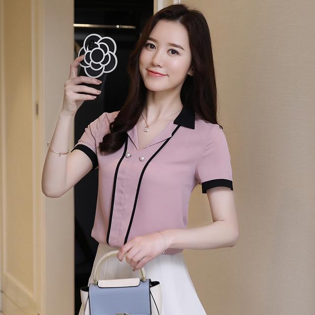 2018 new fashion chiffon shirt women tops office lady elegant style v-neck short sleeved blouses casual women clothing D665 30
