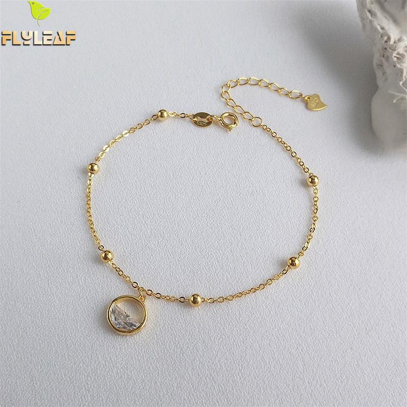 Flyleaf Clear Spring Water Real 925 Sterling Silver Bracelets For Women Cubic Zirconia Fashion Fine Jewelry Bracelets & Bangles