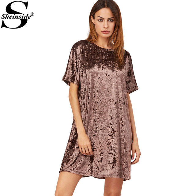 Sheinside Loose Fashions Short Dress Womens Dresses New Arrival Brown Short Sleeve Velvet Shift Dress