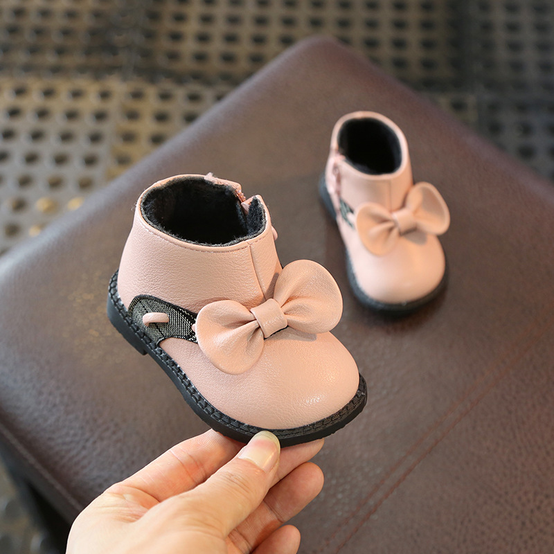 2019 Winter New Baby Princess Fashion Ankle Boots Soft PU Leather Baby Girls Shoes First Walkers