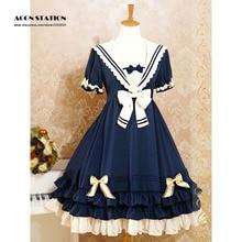цена на Sailor Style Lolita One piece Dress Short Sleeves College School Style Lavender Light Blue Deep Blue Dark Red