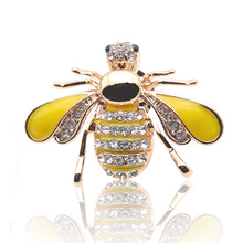 2 Colors Hot Selling Cute Animal Bee Brooches For Women Rhinestone Brooch Pin Crystal Enamel Bee Broches Lapel Insect Pins Gift