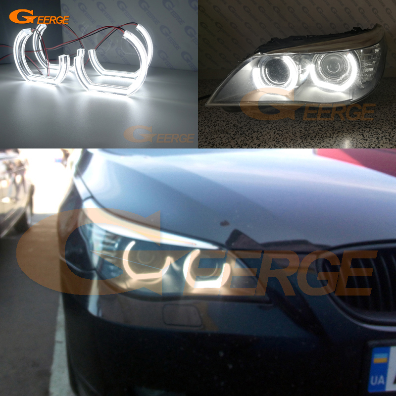 For BMW 5 SERIES E60 E61 LCI 525i 528i 530i 550i M5 2007-2010 Xenon headlight Ultra bright DRL DTM M4 Style led Angel Eyes kit for bmw 5 series e60 e61 lci 525i 528i 530i 545i 550i m5 2007 2010 xenon headlight dtm style ultra bright led angel eyes kit page 3