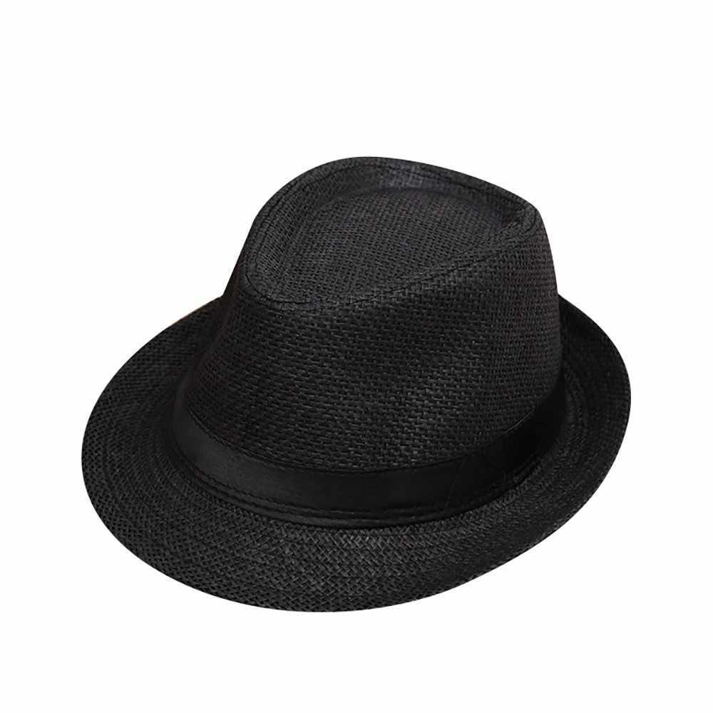 Novedad niños verano playa paja sombrero Jazz Panamá Fedora sombrero gánster gorra al aire libre transpirable sombreros niñas niños sombrero