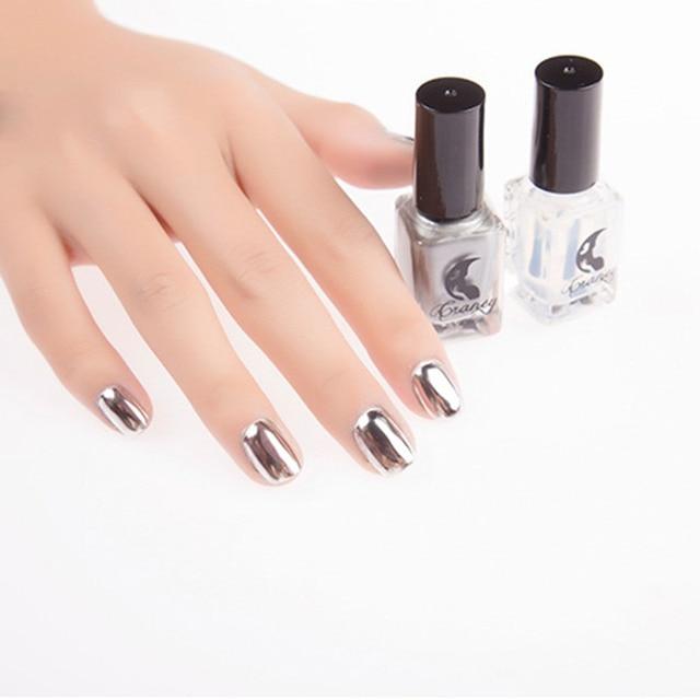 Nueva Clavos arte efecto de plata metal Esmaltes de uñas 6 ml moda ...