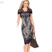 2015 Moda Rzęs Koronki Crochet Bodycon Czarny Tunika Bandaża Sukni Kobiety Urząd Wear Casual Ołówek Sukienek Vestidos 58