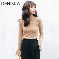 DENISKA2018 Women S Pullovers Sweater Korean Round Neck Speaker Sleeves Long Sleeves Solid Color Slim Was