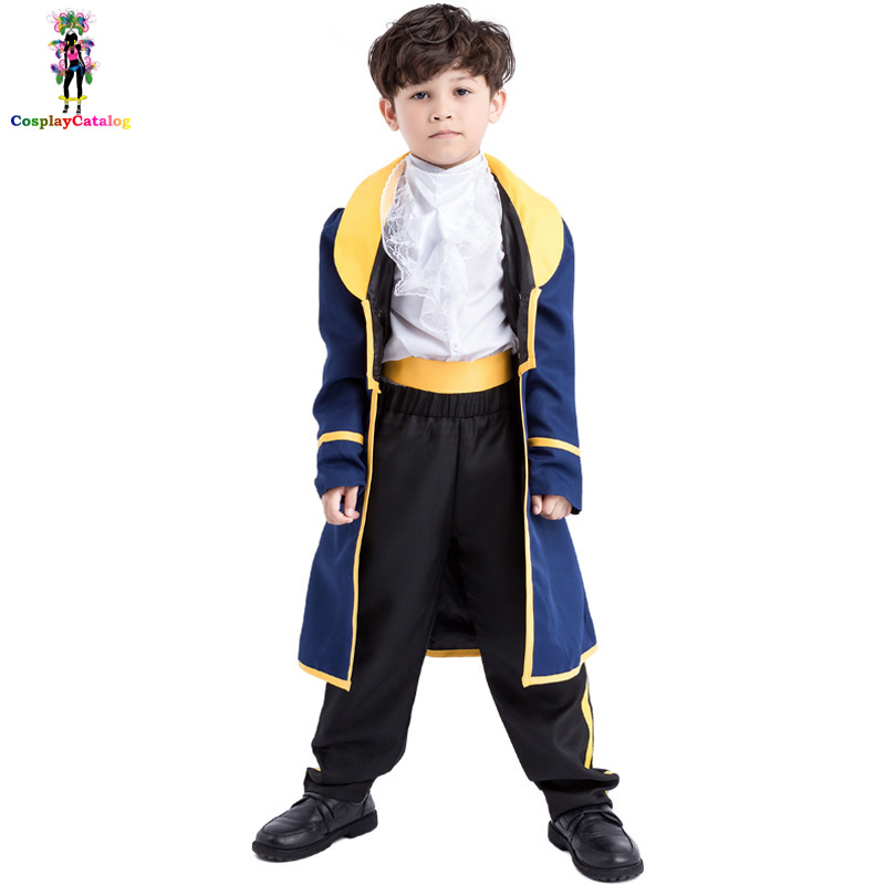 Halloween Charming Aristocrat Kids Costumes Royal Prince Boy Costume Children Role Uniforms Robe Coat + Trousers High 120-150cm