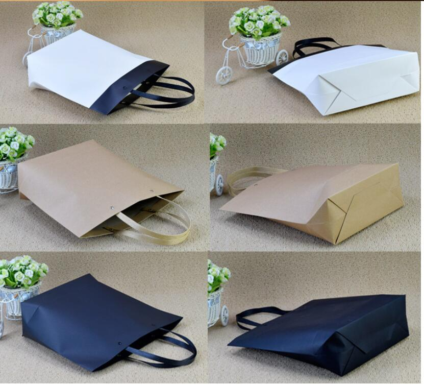 10pcs Kraft Paper Gift Bag With Handle Black White Wedding Birthday Party Bags Large Shopping Bags Clothes Bags in Gift Bags Wrapping Supplies from Home Garden