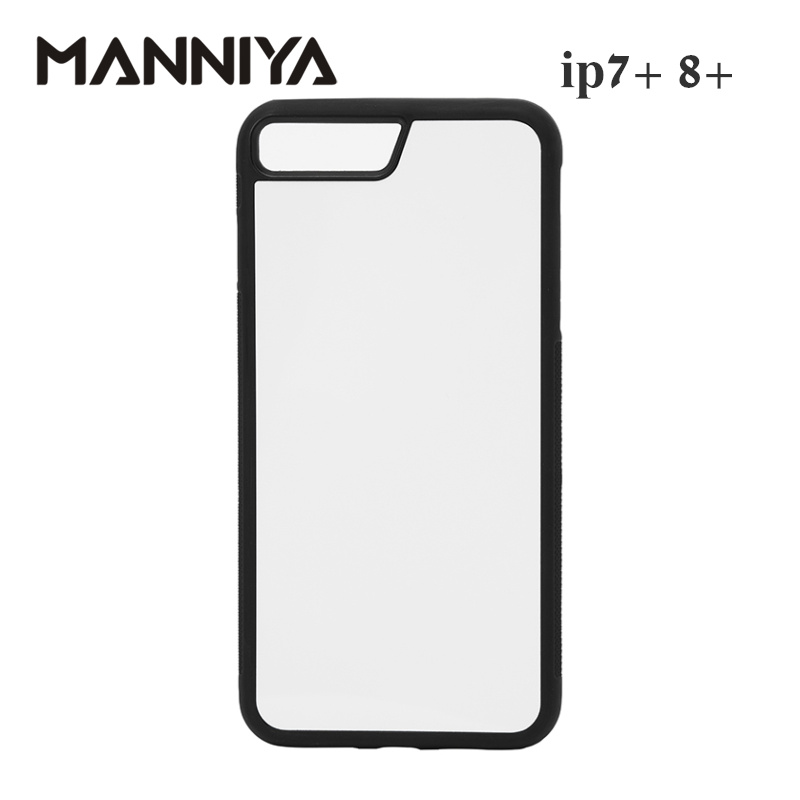MANNIYA Blank Sublimation rubber TPU+PC phone Case for iphone 7 plus 8 plus with Aluminum Inserts and tape Free Shipping! 100pcs