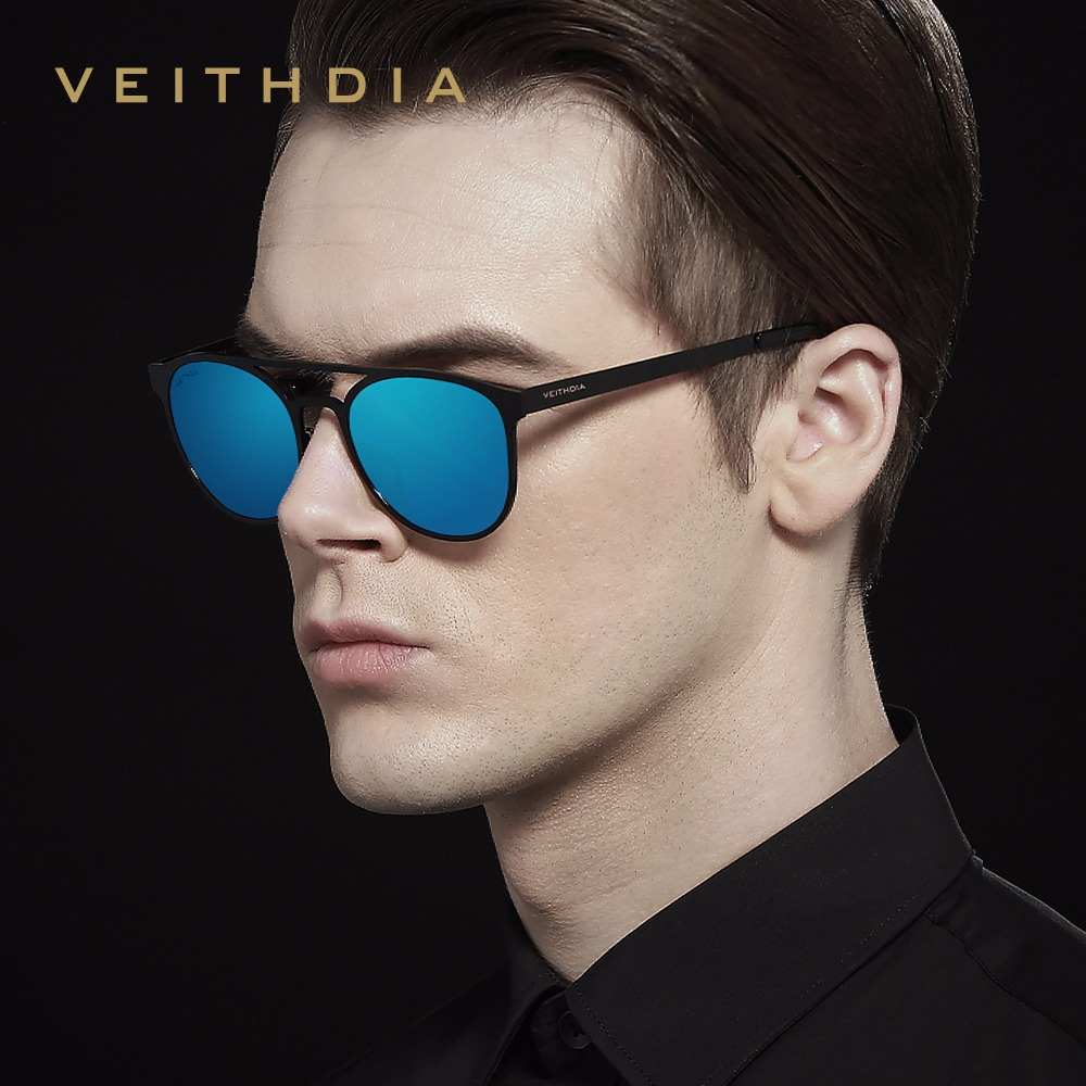 VEITHDIA Stainless Steel Men's Sunglasses Polarized Round Vintage Sun Glasses Male Eyewears Accessories Men Oculos de grau V3900