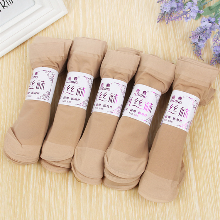 Summer Sexy Ultra - Thin Transparent Crystal Silk Socks Women High Elastic Black Nylon Short Socks Female 10Pair=20Pieces