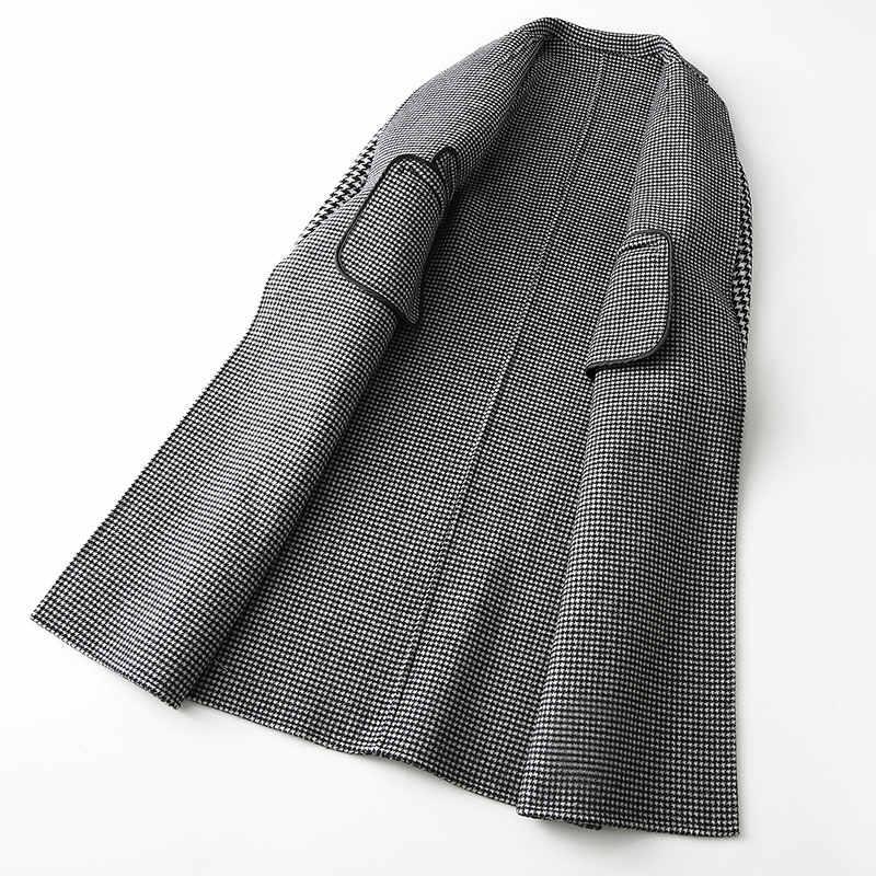 AYUNSUE шерстяное пальто женские 2019 Модные осенние клетчатые шерстяной Тренч женские длинные тонкие женские зимние куртки и пальто 37110