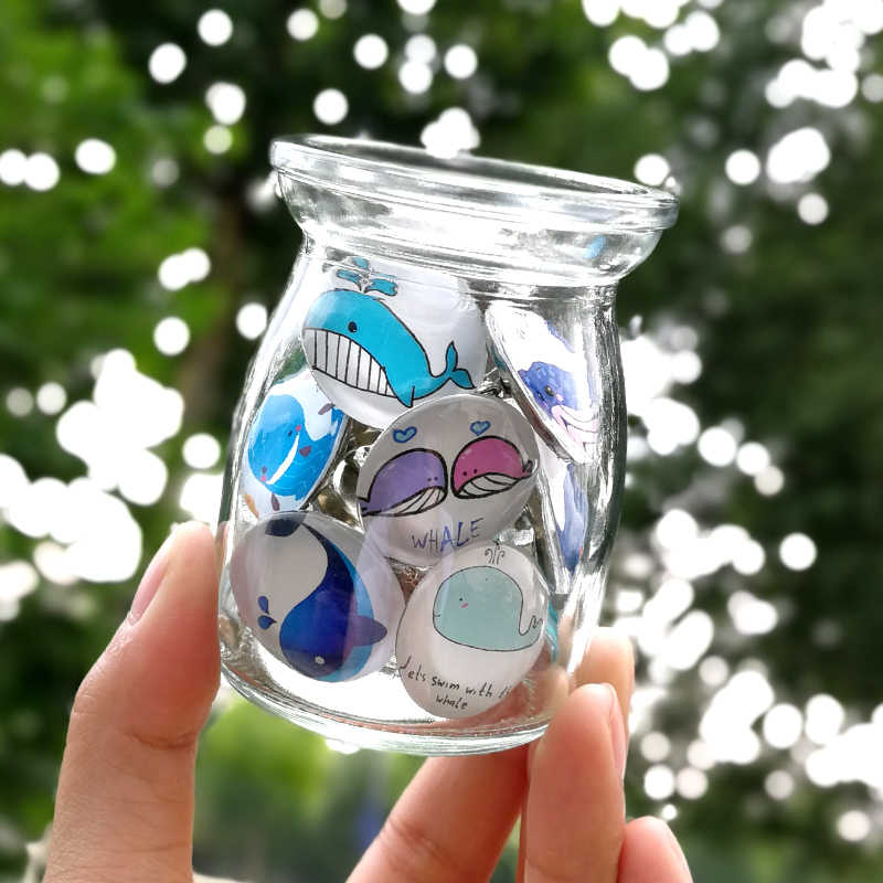Nengdou S36 wieloryb ikony cartoon odznaki szkło broszka harajuku akcesoria dla dzieci zwierzę oceaniczne plecak ikony kawaii pin dla chłopca