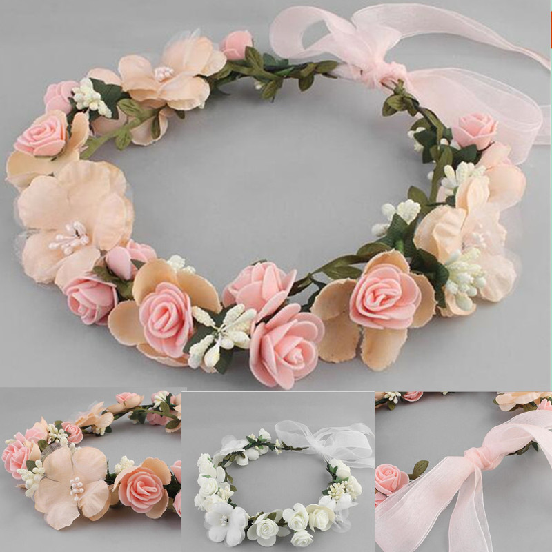 Bridal Hair Wreath Women Flower Headband Girls Hairwear Birthday Party Beach Wedding Hair Accessories Halloween Decoration