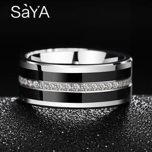 Wedding-Rings-Band Hi-Tech Ceramic Cubic-Zircon Saya Black Mens Us-Size Tungsten 8mm
