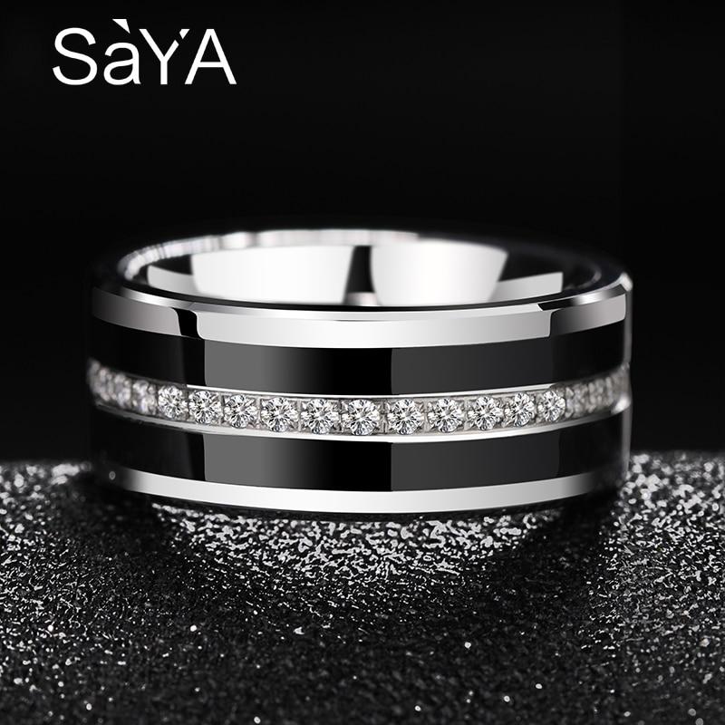 Saya 2018 hommes anneaux de mariage bande 8mm largeur tungstène anneaux incrusté noir hi-tech en céramique entièrement empilé cubique Zircon taille américaine 7-10.5