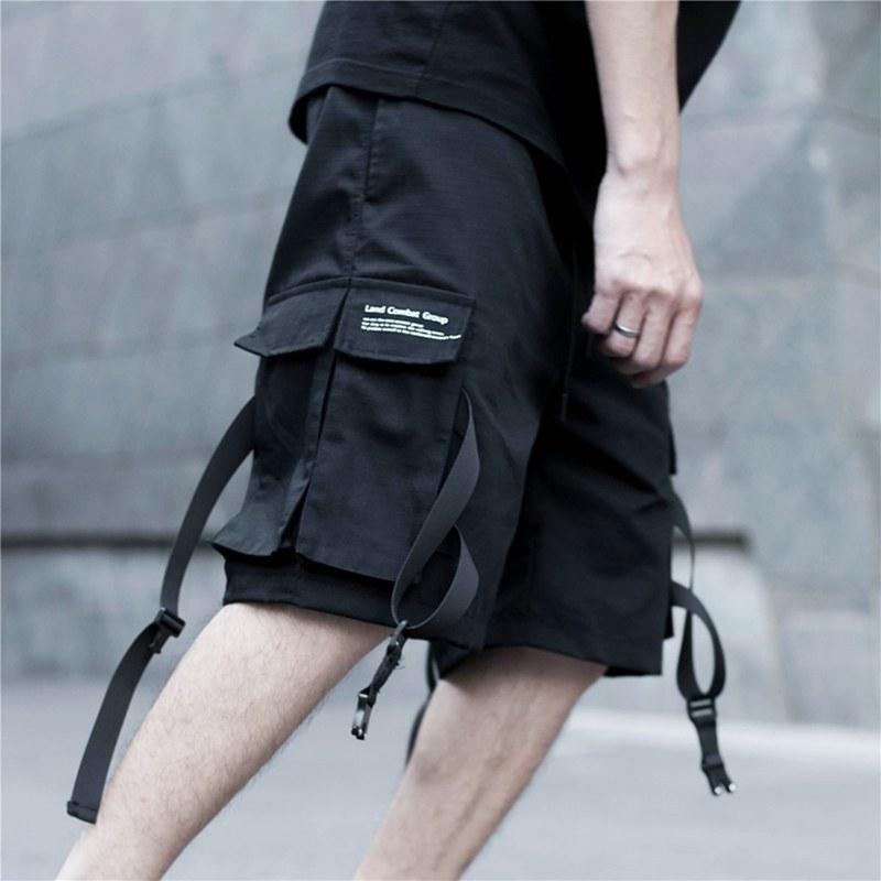 Summer Cargo Shorts Men Cotton Streetwear Black Casual Men's Shorts Reflective Ribbons Bermuda Short Pants Men шорты мужские