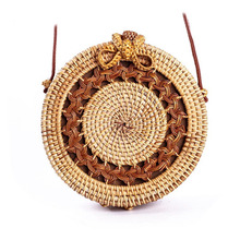 Circle Rattan bag shoulder Beach Bag Round Woven Straw Women Boho Bali Handbags Summer 2019 new knit Crossbody drop shipping