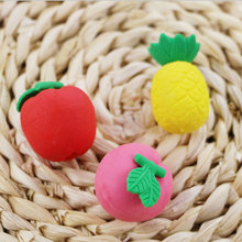 3pcs/lot kawaii stationery children cute cartoon Cute mini fruit  eraser primary school prizes Creative supplies