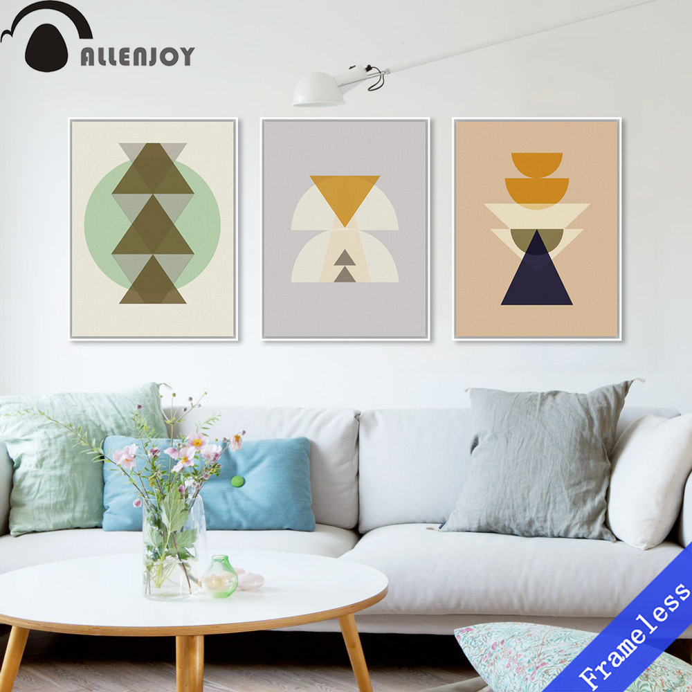 Triptych Modern Minimalist Nordic Totem Maya Inka Symbol A4 Abstract Art Print Poster Hipster Picture Canvas Painting Home Decor