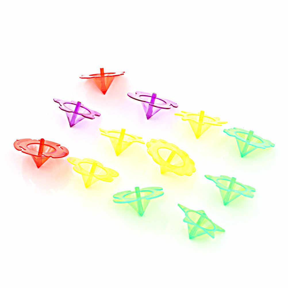 10 sztuk/zestaw losowe przedszkole pojedyncze fidget spinner ręcznie Spiner zabawka żyroskop plastikowe mini top Spinning