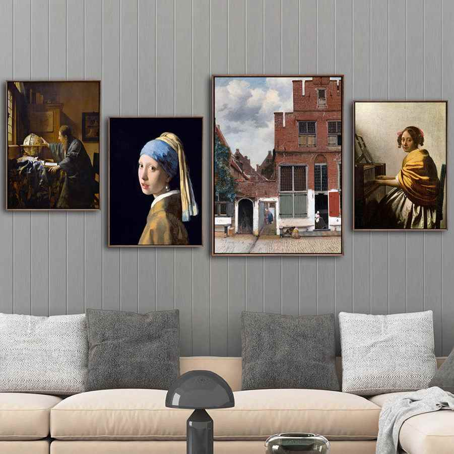 Home Decoration Print Canvas Art Wall Pictures Poster Paitings Netherlandish Girl wearing pearl earrings johannes vermeer