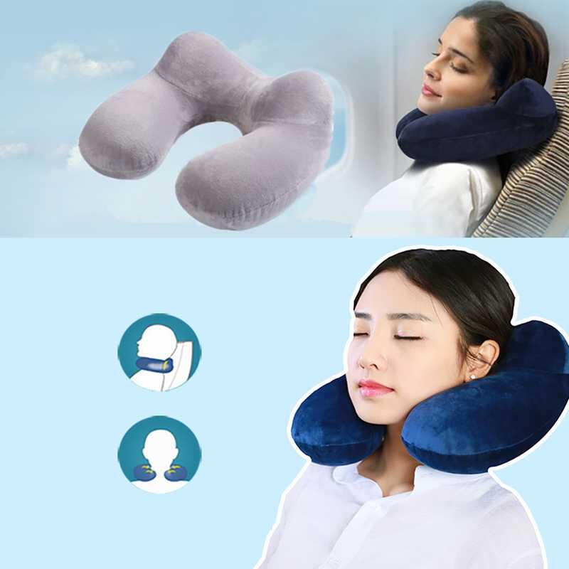 DIDIHOU Inflatable U-shapedSlow Rebound Memory FoamTravel Portable Outdoor Pillow Neckrest  Train Airplane