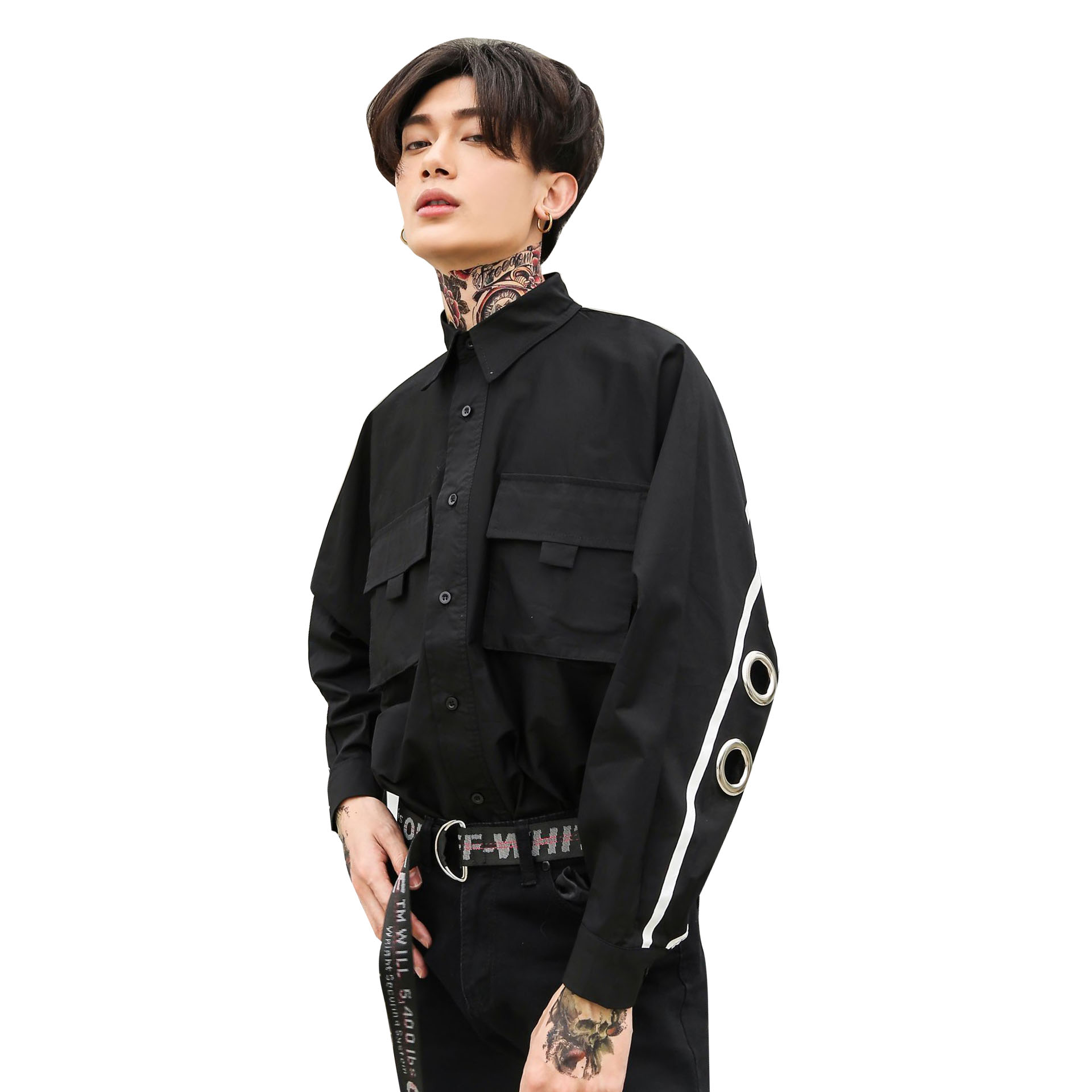 Man Rivet Iron Ring Hollow Bat Long Sleeve Shirt Male High Street Fashion Hip Hop Punk Loose Casual Dress Shirt Stage Costumes