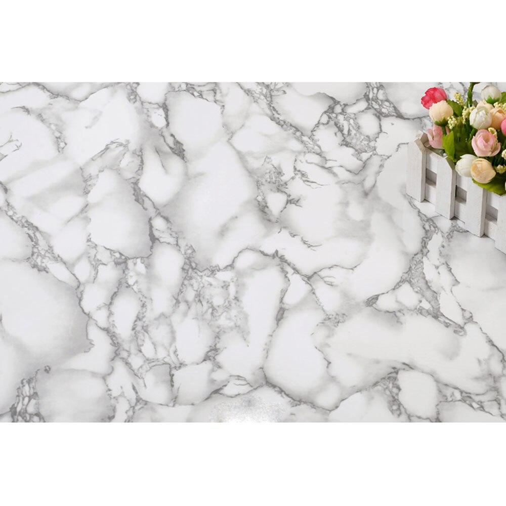 Серый и белый Водонепроницаемый Мрамор зерна виниловых самоклеющиеся обои Стикеры Современный Контакт папе для Кухня шкаф - 3