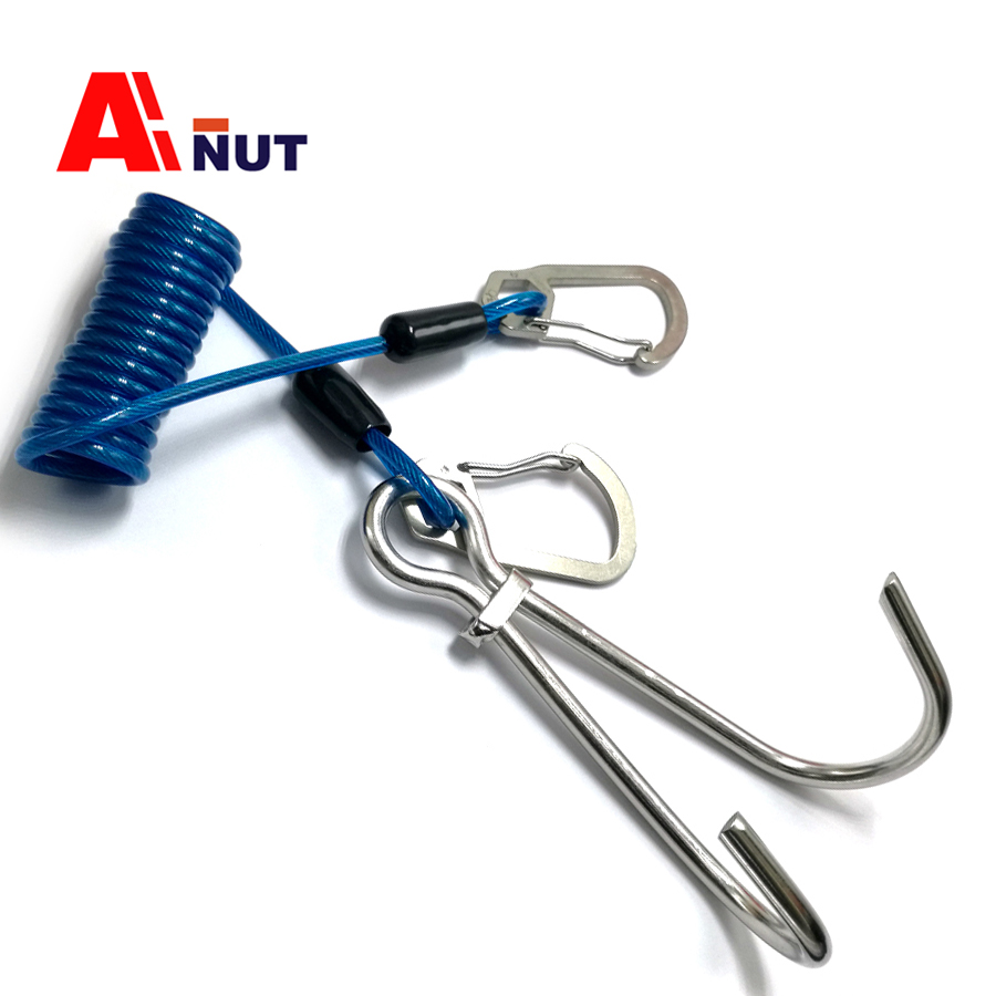 316 Stainless Steel Diving Double Reef Hook , Spring wire rope titanium alloy Snap Hook  ...
