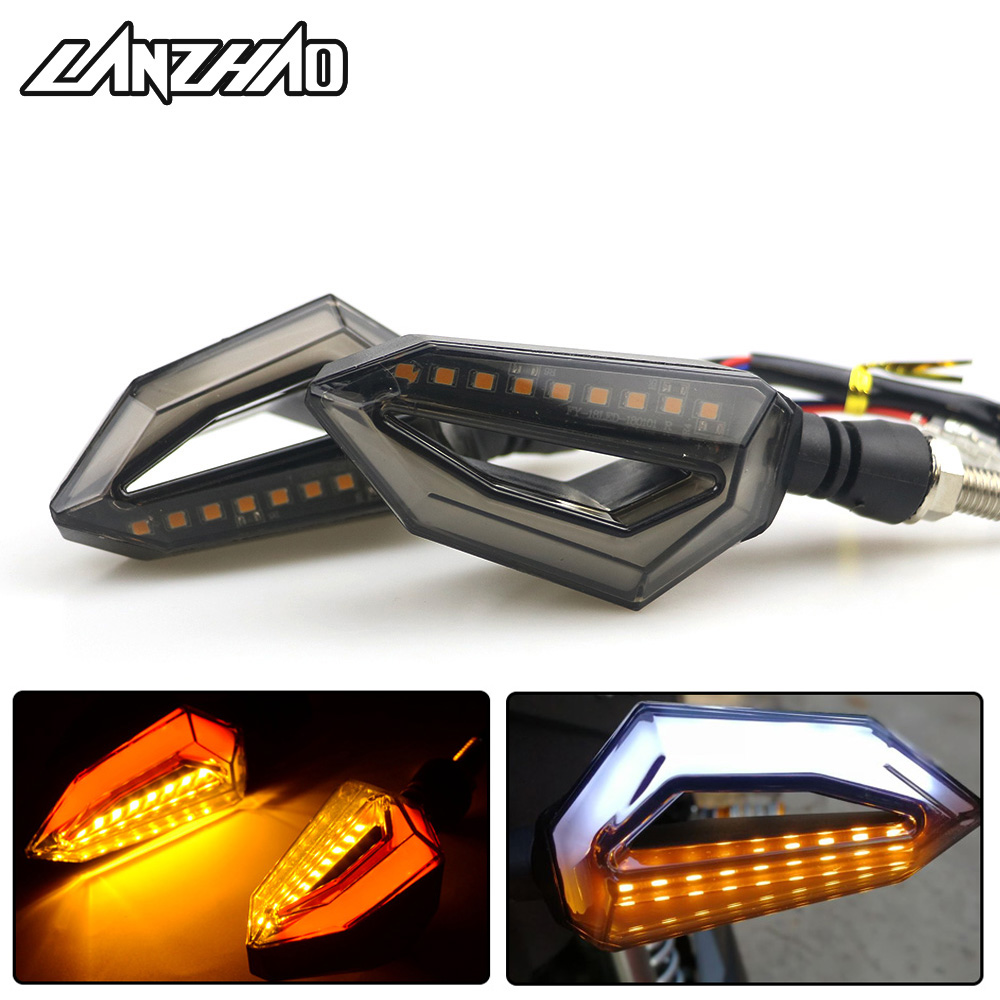 Pair Motorcycle LED Turn Signal Lights Amber Lamp Left Right Signals Indicators Blinkers 3 Wires Universal For Honda Kawasaki