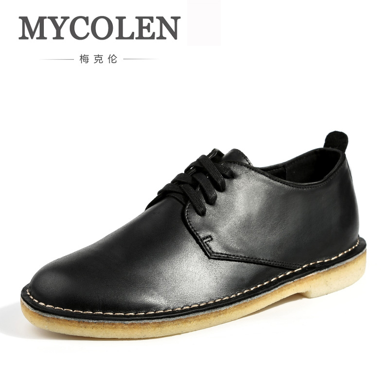 MYCOLEN shoes men slip-on loafers leather waterproof wedges spring shoes Handmade casual black/brown shoes sepatu casual pria mycolen 2018 new summer breathable men casual shoes slip on male fashion footwear height increasing sneakers sepatu casual pria