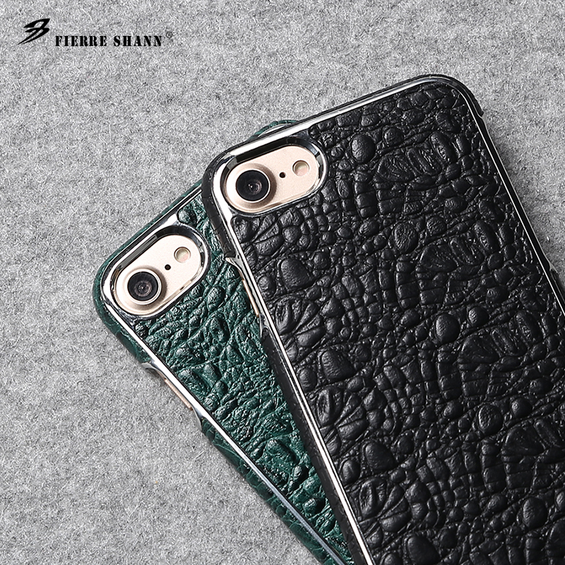 Fierre Shann Crocodile Pattern Plating for iPhone X 8 7 7 Plus Genuine Leather Case for Samsung Galaxy S8 Plus Back Cover Coque