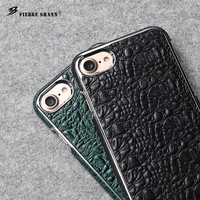 Fierre Shann Crocodile Pattern Plating For Iphone 7 7 Plus Genuine Leather Case For Iphone 7