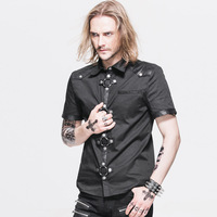 Devil Fashion Streetwear Heavy Metal Rock Black Short Sleeves Men Blouses Tops Gothic Punk Cool Summer
