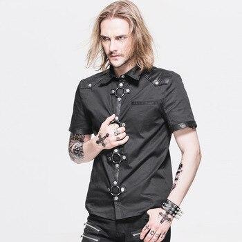Devil Fashion Steampunk Rock Black Short Sleeves Men Shirts Gothic Punk Handsome Summer Cotton Shirt Casual Blouse Tops